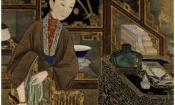 Цин. Сяо Гуанчао. У Цзинвэнь «Двенадцать красавиц». Свиток на шелку. Фрагмент.Из собраний Пекинского Музея Гугун.